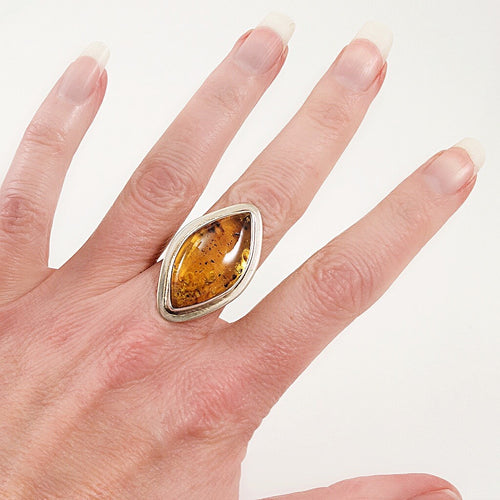 Chiapas Amber and Sterling Silver Ring - Size 6