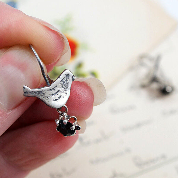 Sterling Silver Bird with Crystal Drop Earrings