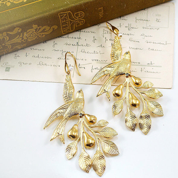 Dramatic Bird and Pearl Earrings by Eric et Lydie