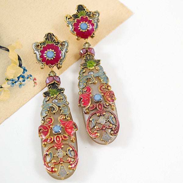 Whimsical Teardrop Pendant Earrings by DUBLOS