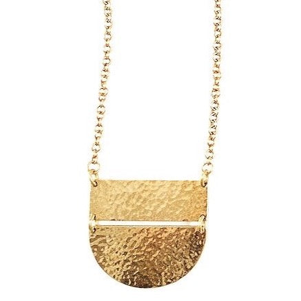 Half Moon Brass Necklace - Long