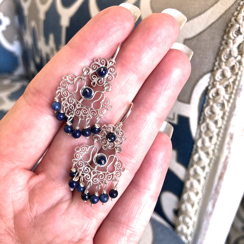 Sterling Silver Frida Kahlo Filigree Earrings with Lapis Lazuli