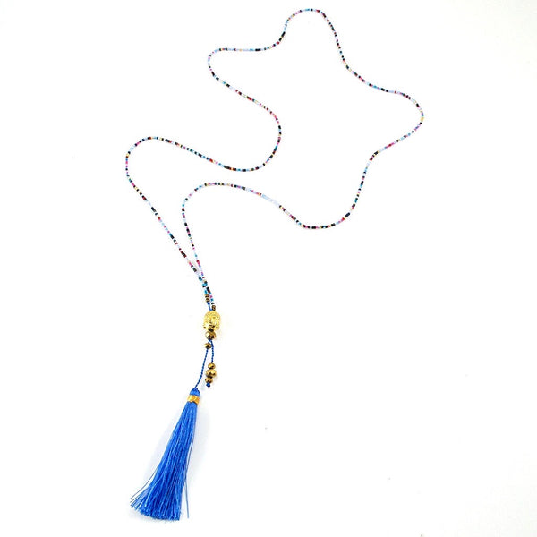 Long Silk Tassel Beaded Buddha Necklace - Periwinkle