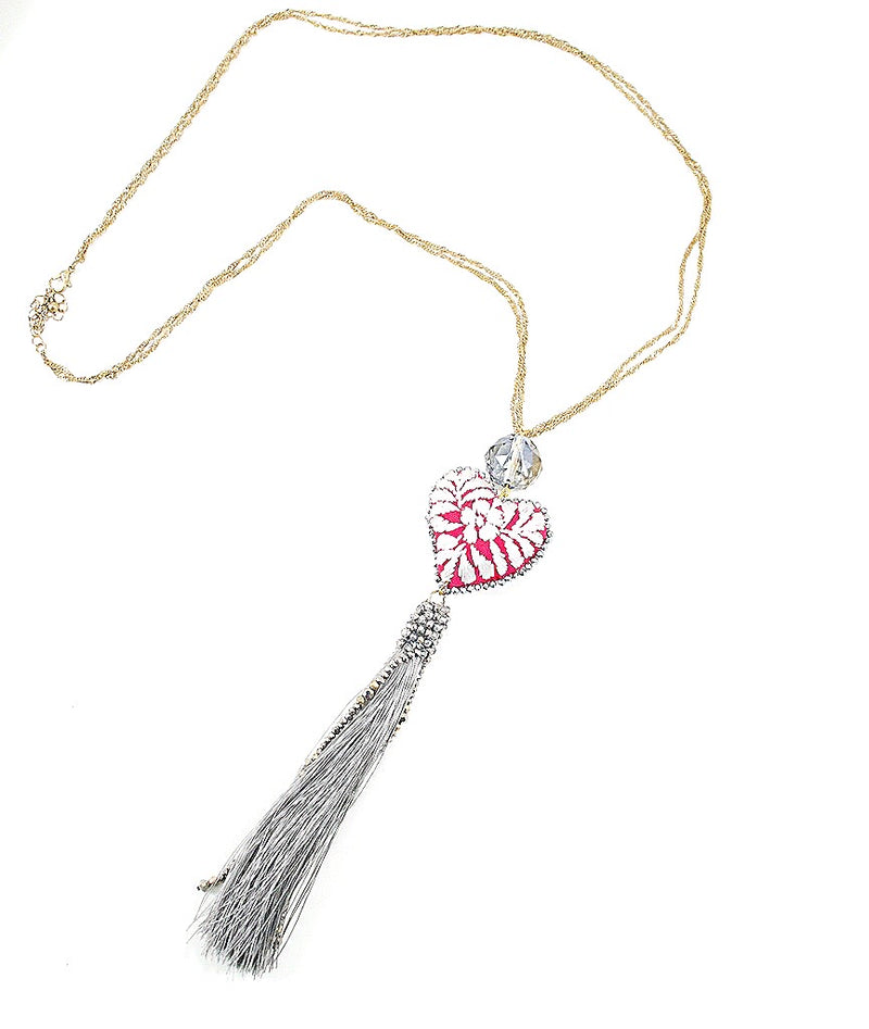 Long Chain Embroidered Heart and Tassel Necklace