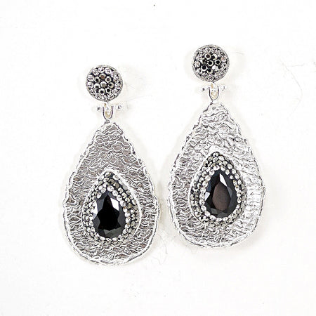 Turkish Silver Vintage-Inspired Ottoman Turquoise Drop Earrings
