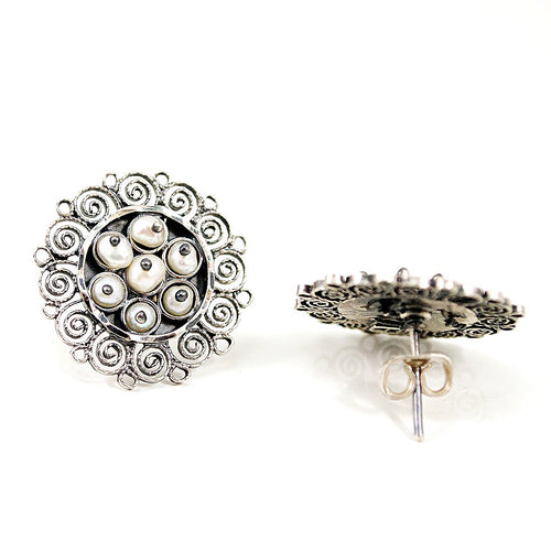 Sterling Silver Mexican Filigree Earrings with Pearls
