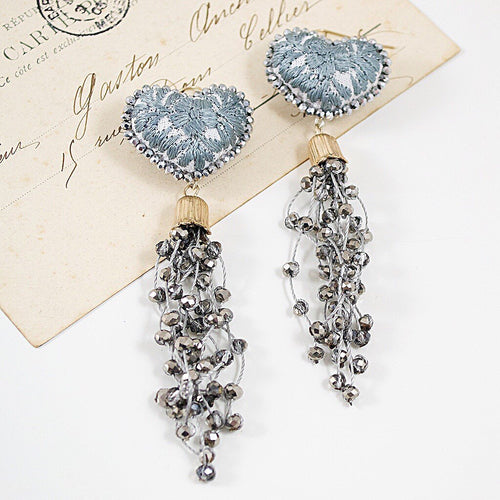 Crystal Embellishe Tassel and Embroidered Heart Mexican Earrings - Grey