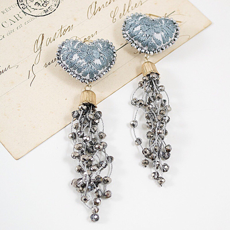 Crystal Embellished Tassel and Embroidered Heart Mexican Earrings - Grey