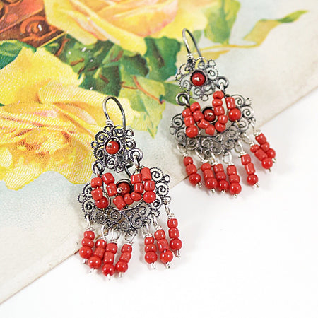 Birds with Heart Earrings from Taxco, Mexico - Multi-Color Stones