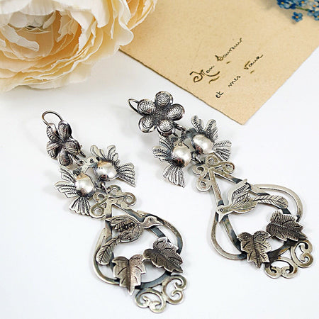 Arracadas Silver Flower and Bird Hoop Earrings