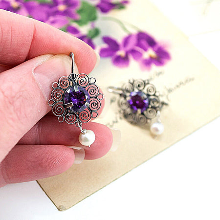 Hand Beaded Post Earrings - Iridescent Eggplant