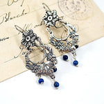 Sterling Silver Flower with Lapis Lazuli Earrings