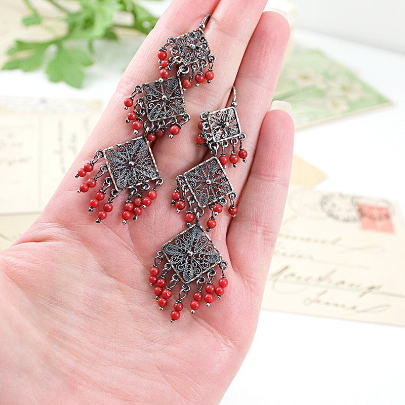 Sterling Silver Frida Kahlo Geometric Filigree Earrings with Coral Beads