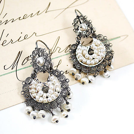 Mexican Filigree Earrings from Oaxaca - Dark Red Ruby Crystal