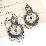 Sterling Silver Frida Kahlo Filigree Earrings with Drop Pearls