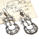 Silver Love Bird Filigree Drop Earrings