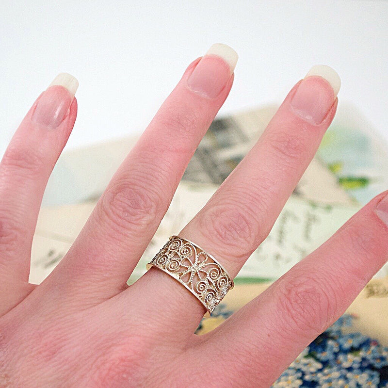 .925 Silver Filigree Ring - Size 8