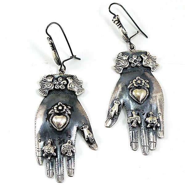 Sterling Silver Frida Milagros Hand Earrings