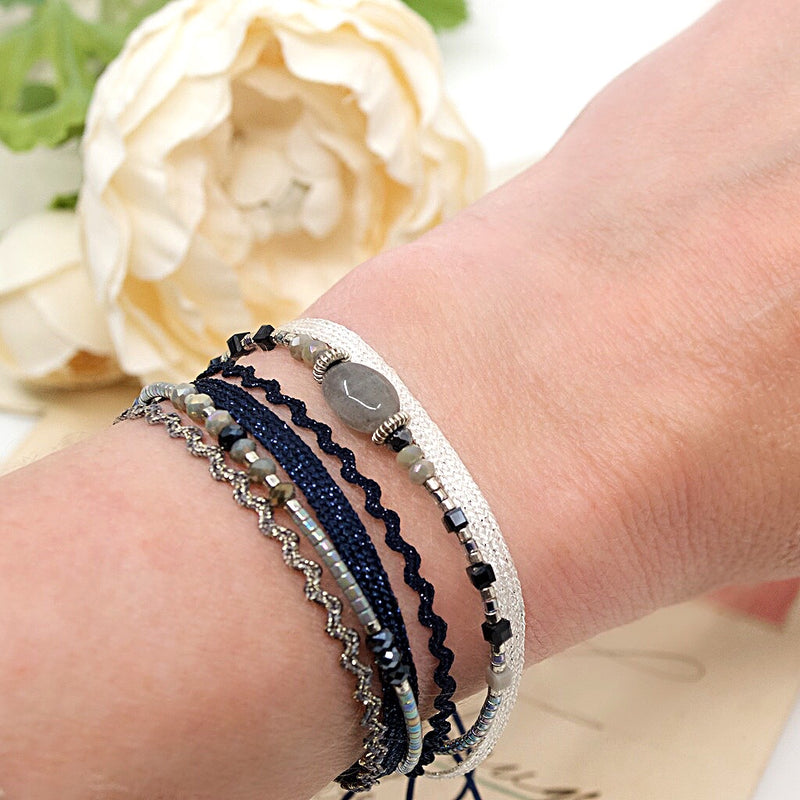 Stone, Bead and Silver Cord Bracelet by CLO&LOU