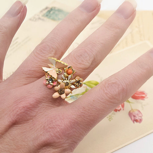 Butterfly and Floral Stackable Ring by Eric et Lydie