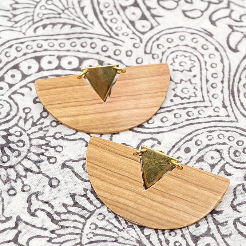 Carved Wood Pineapple Statement Earrings
