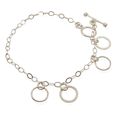 Circle Charm .925 Silver Bracelet from Taxco, Mexico