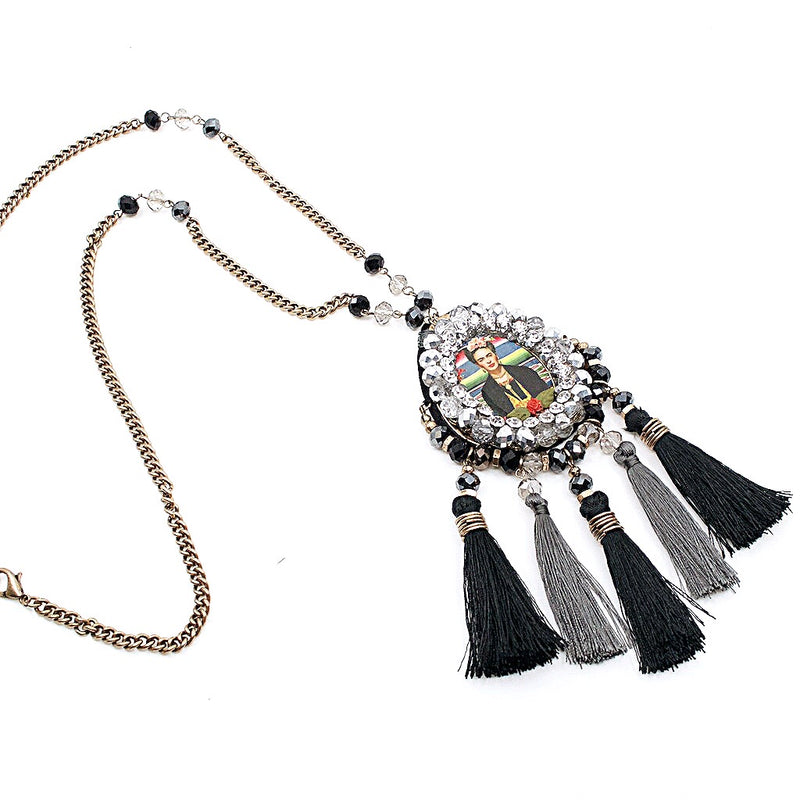 Frida Kahlo Crystal Encrusted Statement Necklace - Long