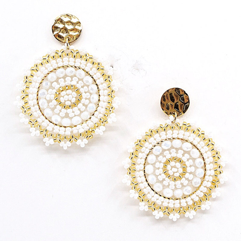 White and Gold Hand Beaded Disc Earrings