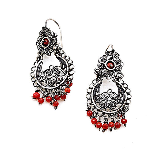 Sterling Silver Frida Kahlo Filigree Earrings with Red Coral Beads