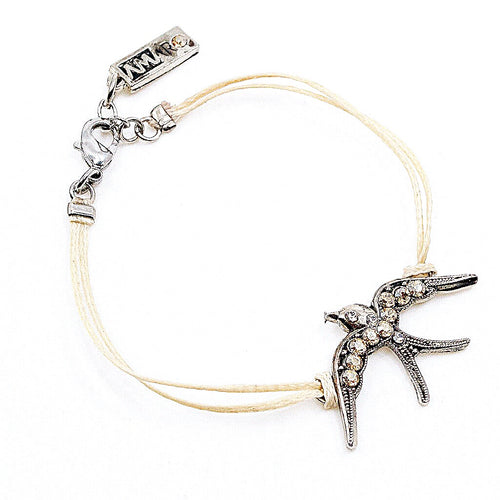 Swallow Cord and Swarovski Crystal Bracelet by AMARO