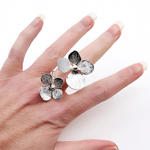 Silver Double Flower Wrap Adjustable Ring