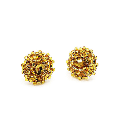 Hand Beaded Post Earrings - Gold
