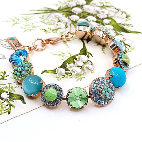 Turquoise and Jade Statement Bracelet by AMARO