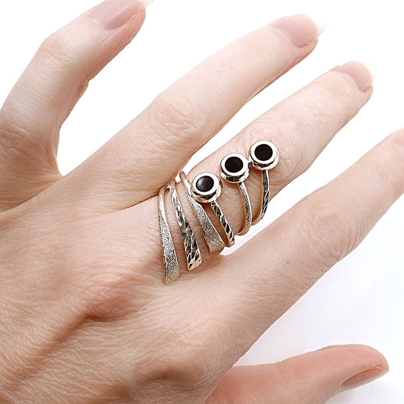 Onyx Silver Adjustable Ring from Taxco, Mexico