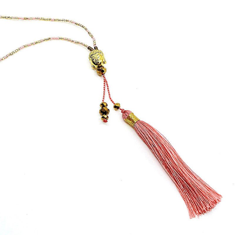 Long Silk Tassel Beaded Buddha Necklace - Light Pink