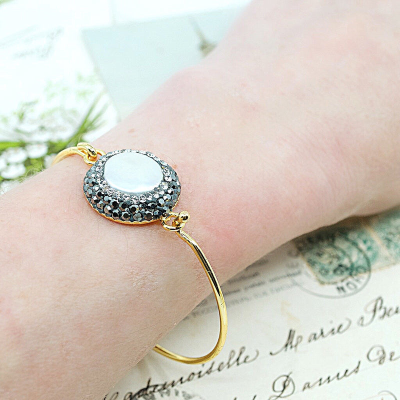 Pearl and Crystal Bangle