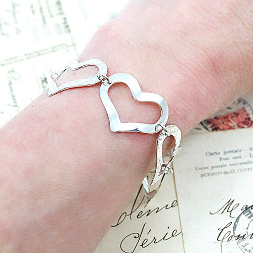 Silver Heart Link Bracelet from Taxco, Mexico