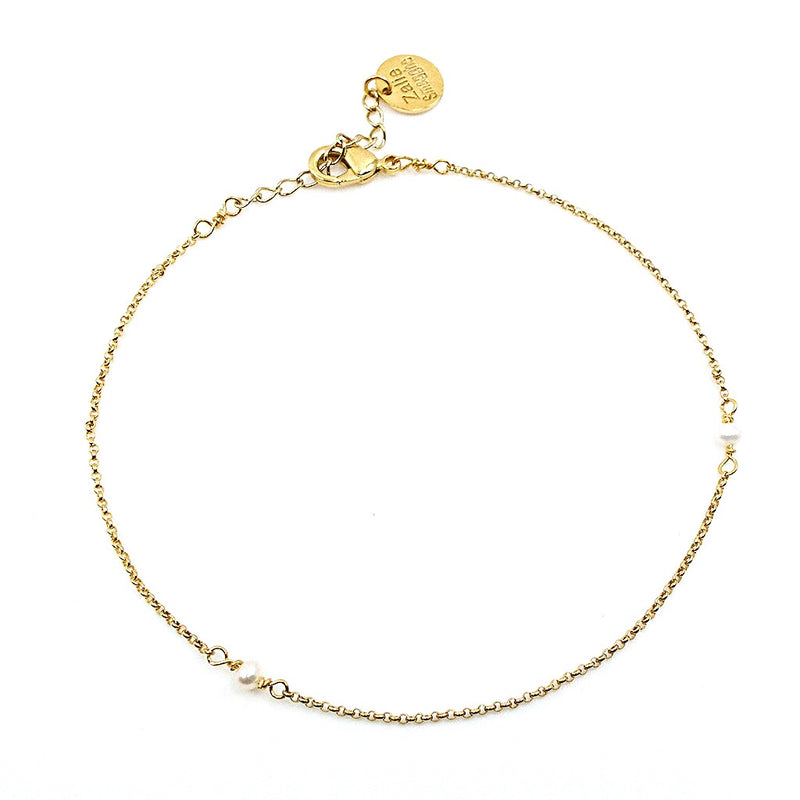 Ankle Bracelet with Pearls by Zalie Smagghe