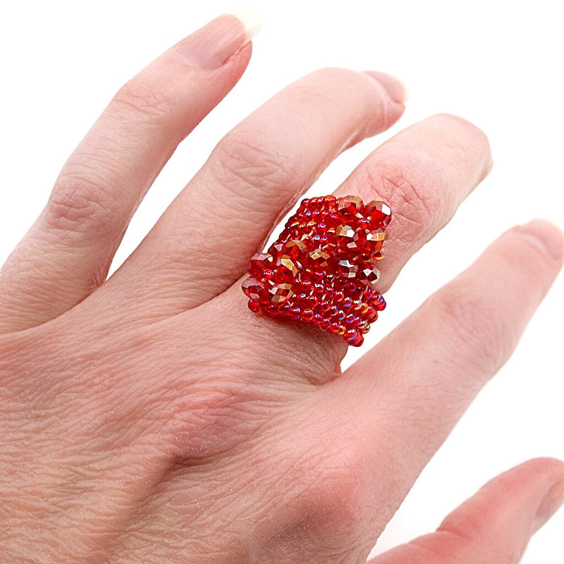Pink Hand Beaded Ring - Size 6