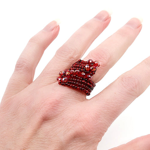 Red Hand Beaded Ring - Size 6