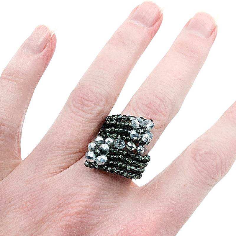 Grey Hand Beaded Ring - Size 7
