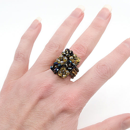 Gold and Black Hand Beaded Ring - Size 7