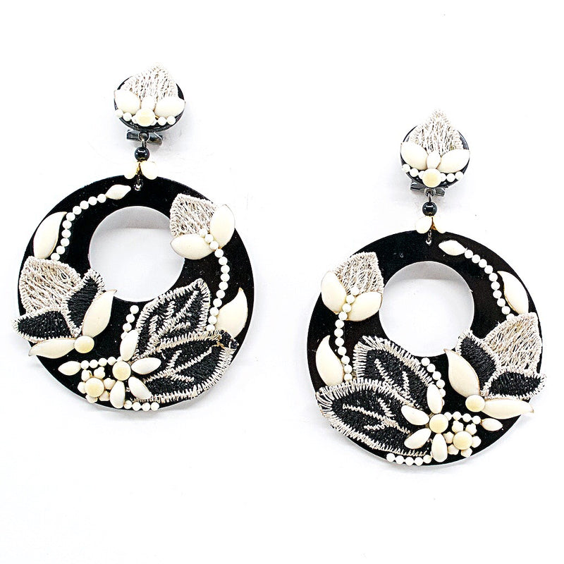 Black and Ivory Statement Embroidered Earrings by DUBLOS