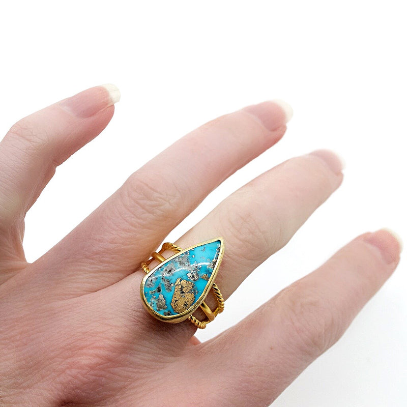 Turkish Sterling Natural Turquoise Geometric Ring