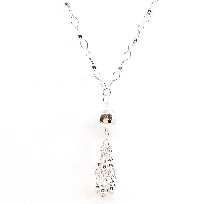 Silver Ball and Tassel .925 Silver Necklacet from Taxco, Mexico - Long