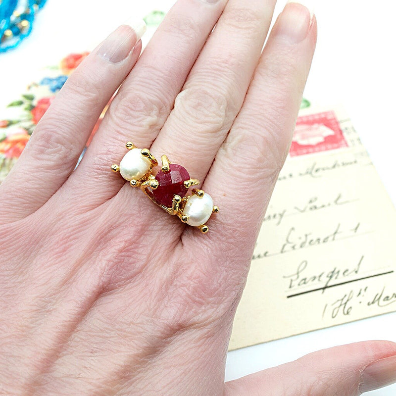 Ruby and Pearl Statement Ring