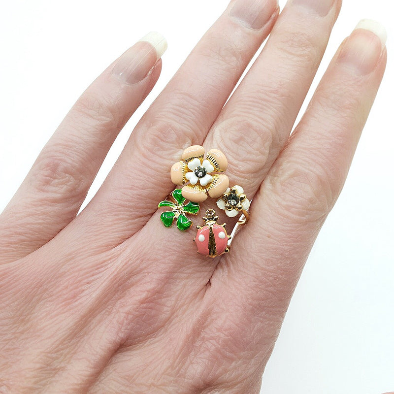 Ladybug and Colorful Floral Stackable Ring by Eric et Lydie