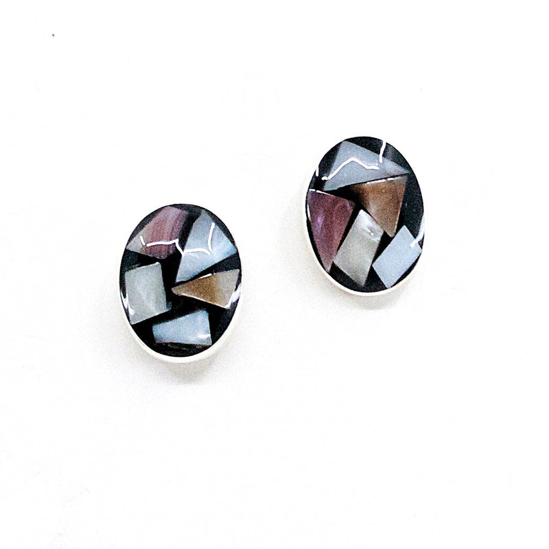 Mother of Pearl .925 Silver Post Earrings from Taxco, Mexico