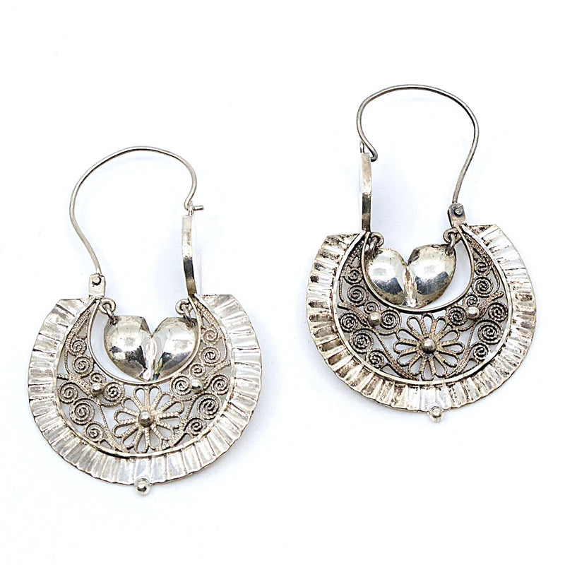 "Frida Kahlo ""Arracadas"" Silver Earrings from Taxco, Mexico"