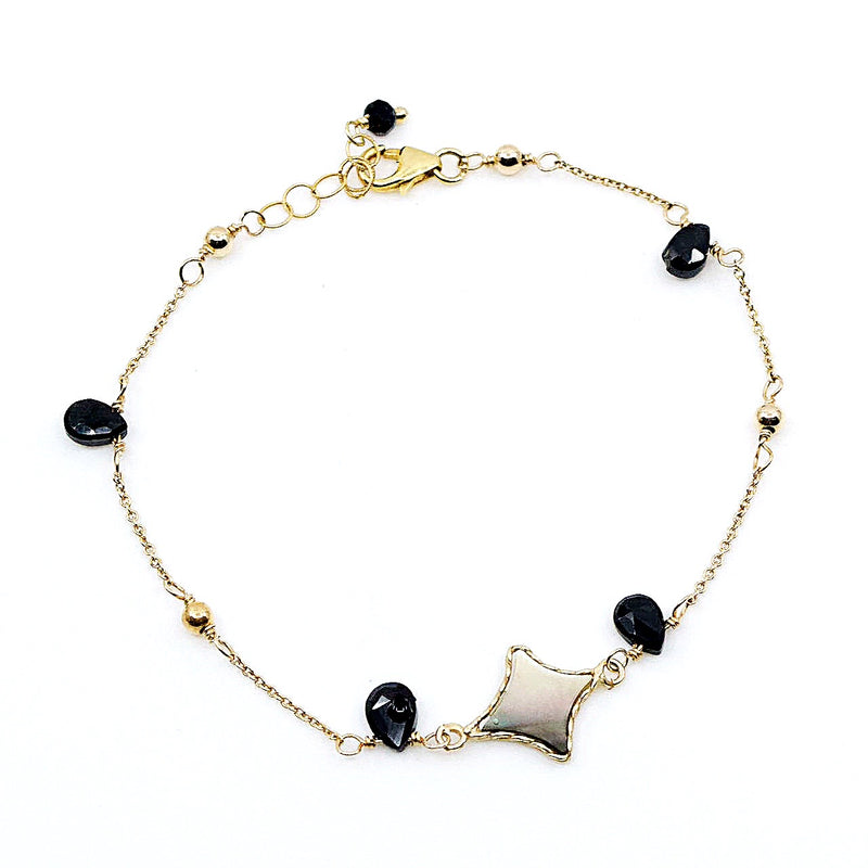 Elegant Mother of Pearl and Onyx Bracelet